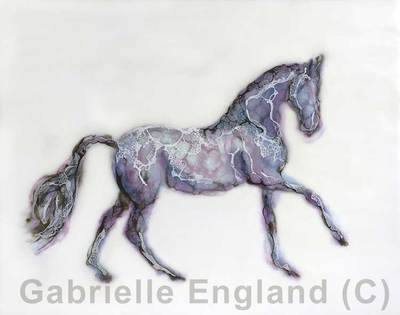 Abstract horse encaustic